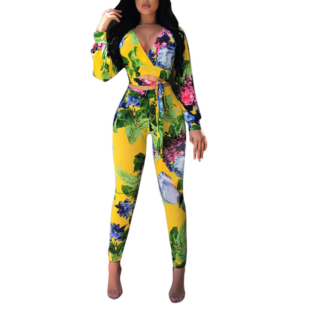 Womens Long Sleeve Printed Shirt Top Blouse + Long Pants Two-Piece Outfit