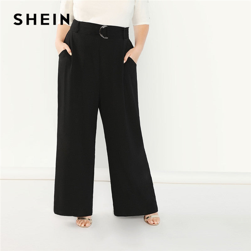 Women Black Plus Size Adjustable Belted Wide Leg Pants