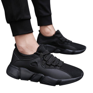 Men Solid Cross Tied Round Toe Mesh Gym Shoes Running Shoes