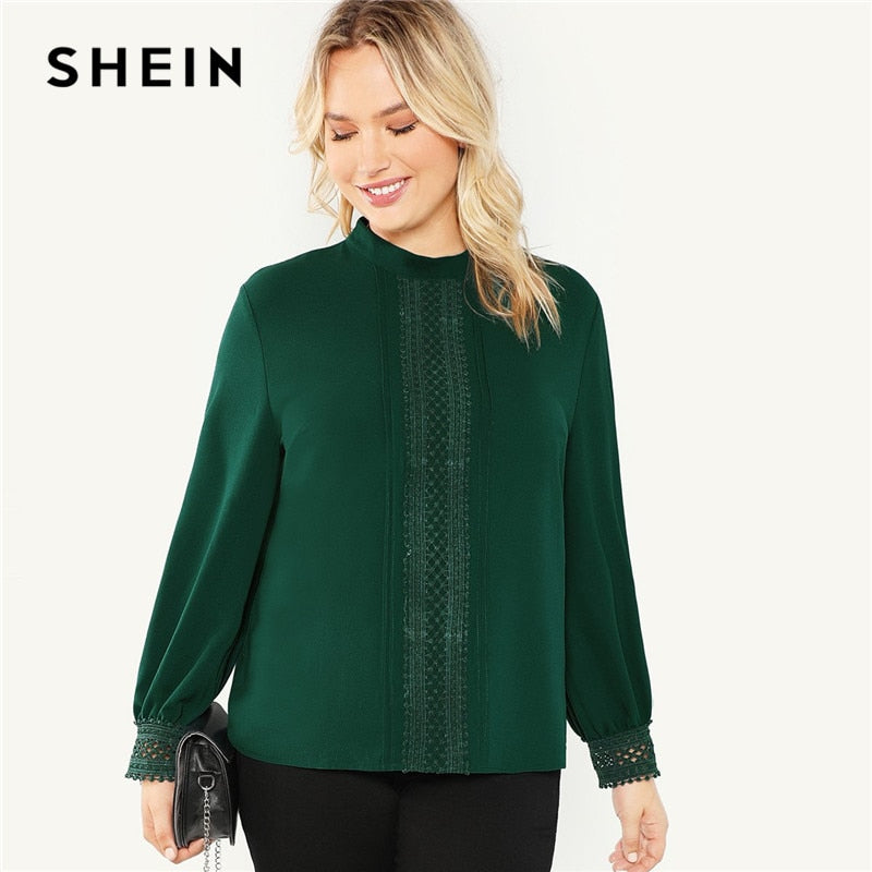 Green Stand Collar Lace Applique Women Solid Blouse