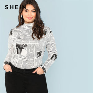 Plus Size Letter Graphic Print Stand Collar Long Sleeve
