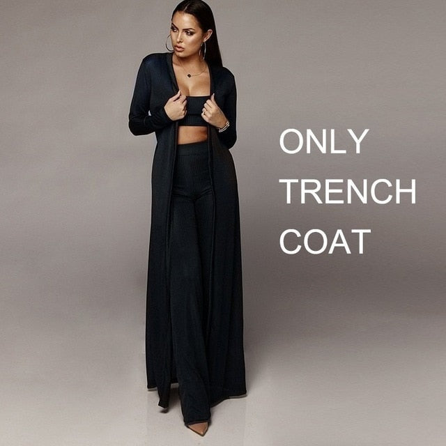 Winter Long Trench Coat Spaghetti Strap Top And Long Pants 2 Piece Set Ladies Trench Coat
