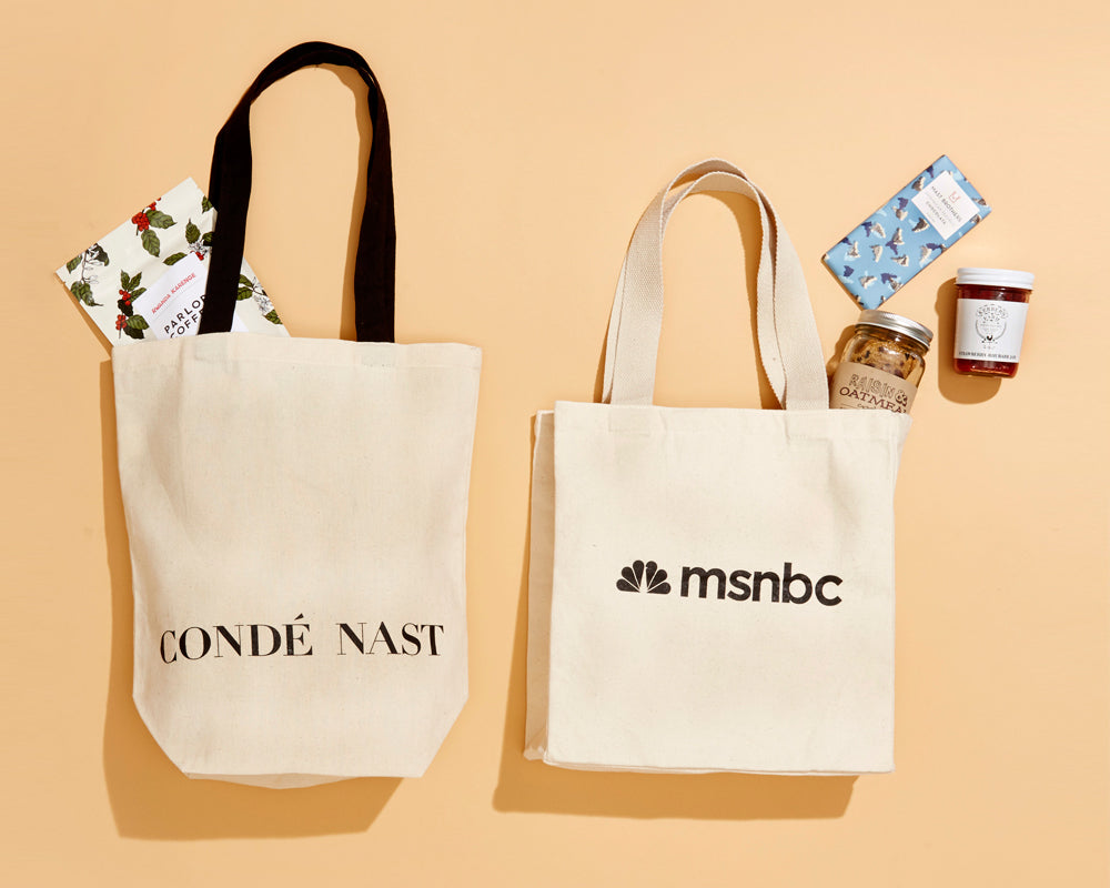 Conde Nast and MSNBC custom bags