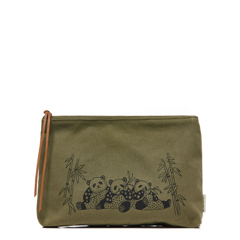 Army Green Panda Family Pouch