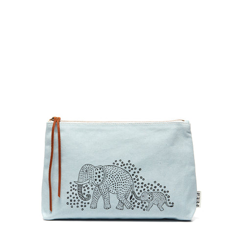 Pale Blue Elephant Family Pouch