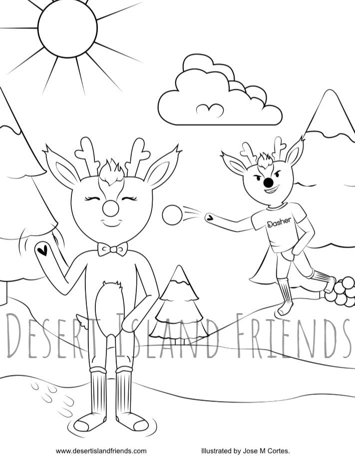 Reindeer Snowball Coloring Sheet