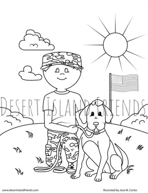 Soldier and Dog Coloring Sheet