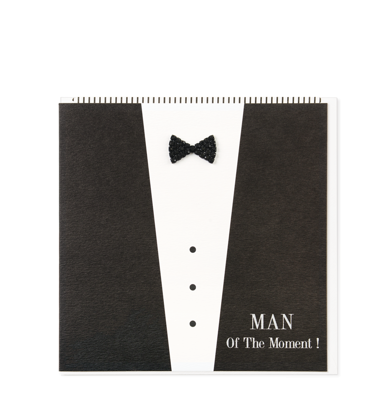 Black Tie Greetings Card, Man Of The Moment