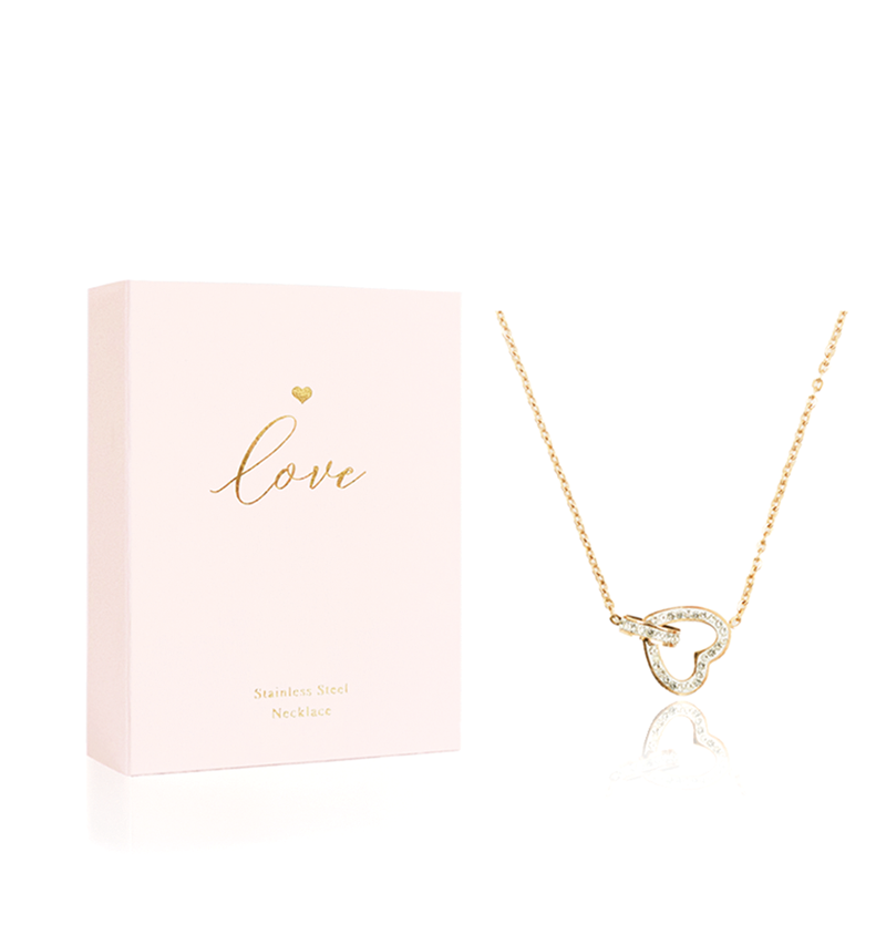 Hearts Jewellery, Heart Necklace LOVE, Gold