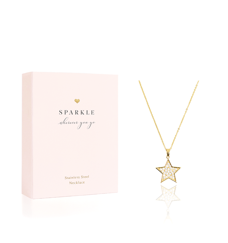 Hearts Jewellery, Star Necklace, Sparkle Wherever You Go Gold