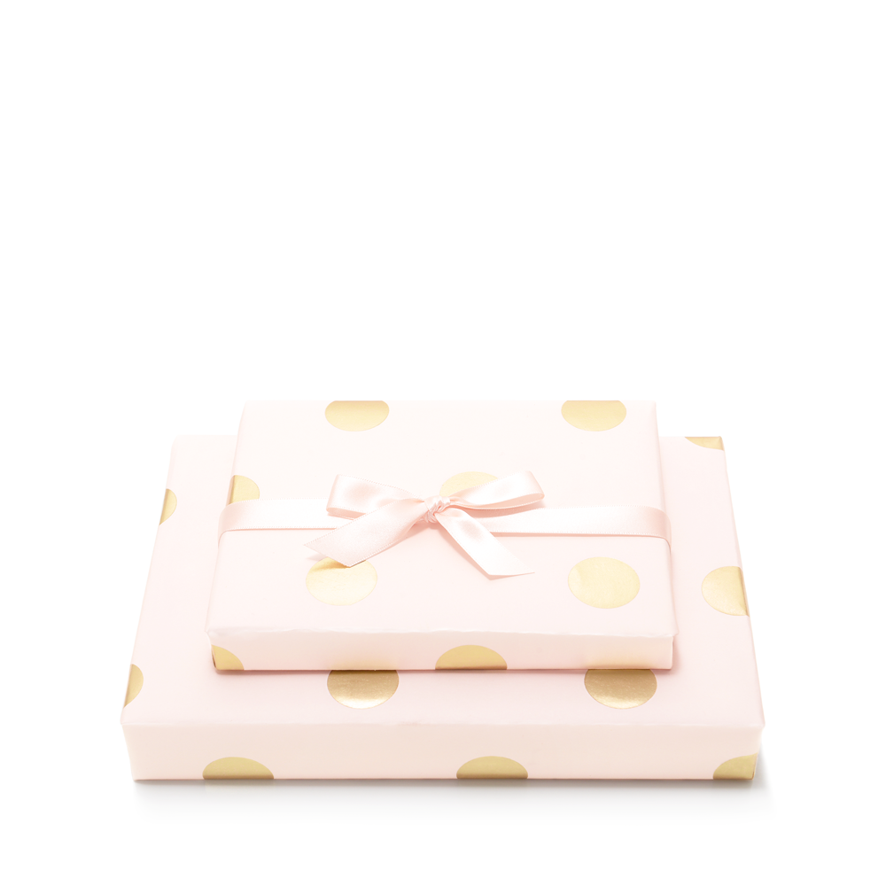 Mad Dots Gift Wrap Sheet, With 2 Metres Of Ribbon, Soft Pink
