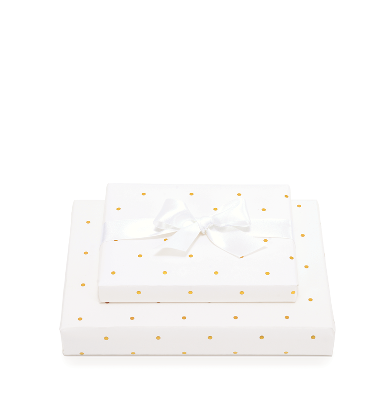 Mad Dots Gift Wrap Sheet, With 2 Metres Of Ribbon, Soft White Small Dots