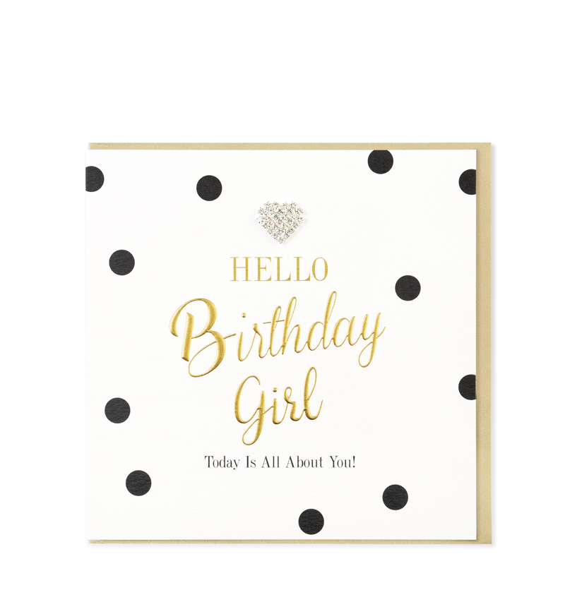 Mad Dots Greetings Card, Hello Birthday Girl