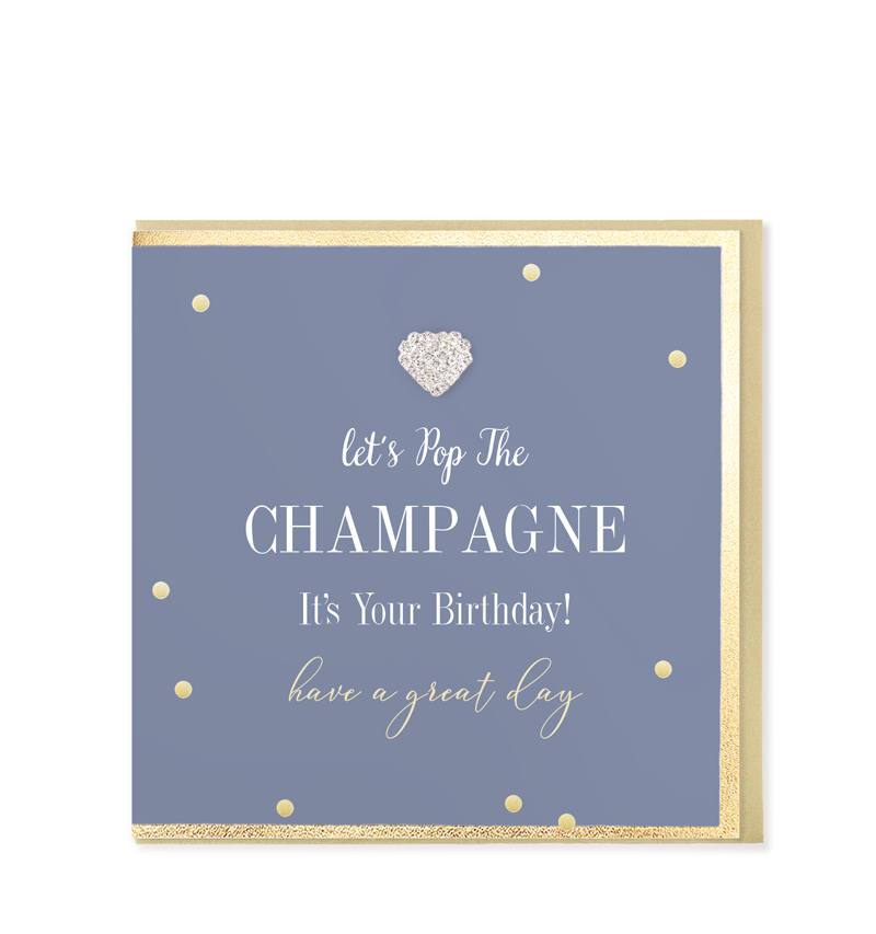 Mad Dots Greetings Card, Let's Pop The Champagne, It's Your Birthday