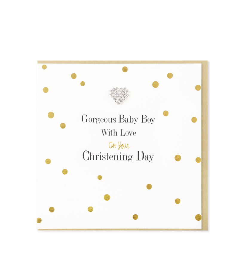 Mad Dots Greetings Card, Christening Day Boy