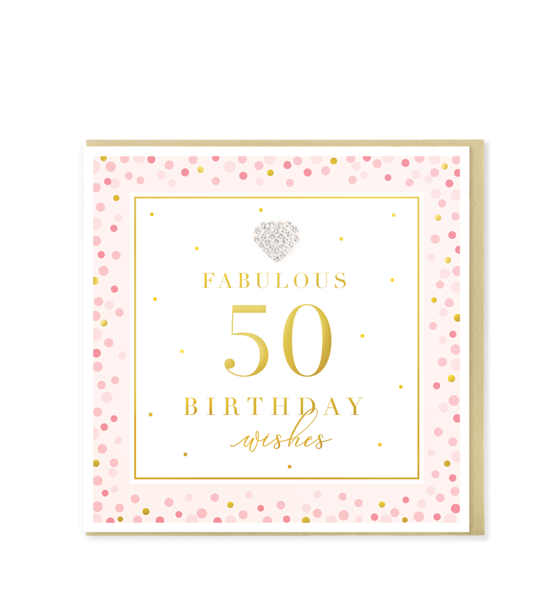 Mad Dots Greetings Card, Fabulous 50 Birthday Wishes