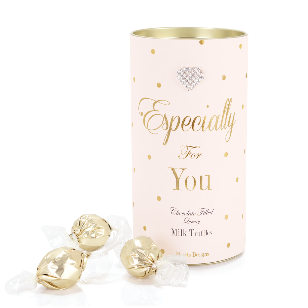 Mad Dots Milk Chocolate Luxury Truffle Tin, Especially For You, Pink