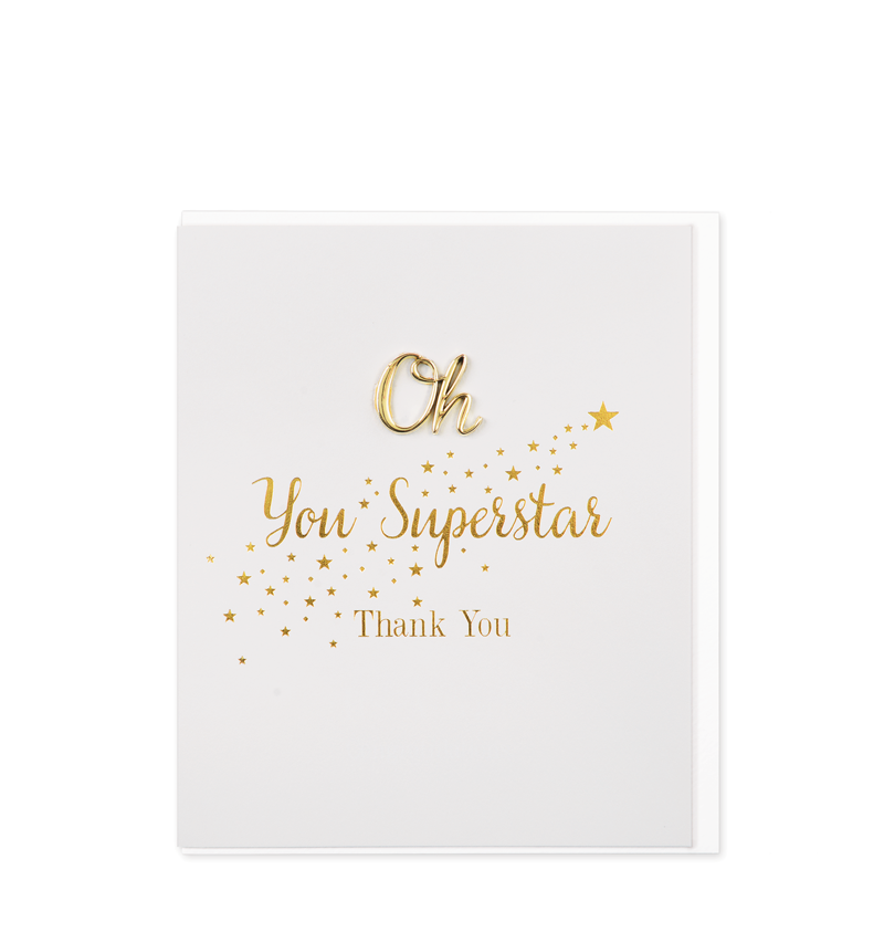 Oh So Charming Greetings Card, Oh You Superstar, Thank You