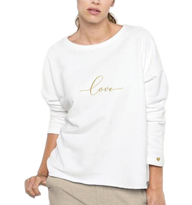 Embroidered Love Sweatshirt, Cream