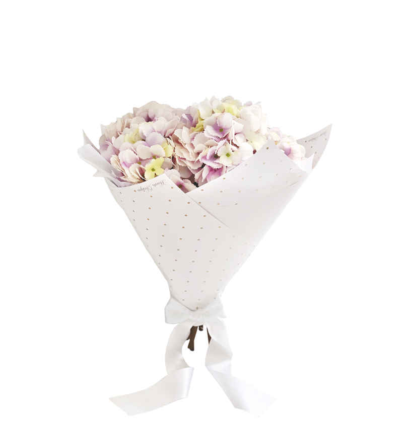 Hand Tied Bouquet Of Powder Lilac Hydrangeas