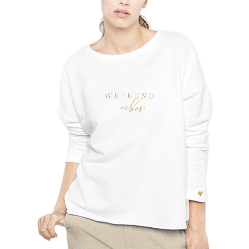 Embroidered Weekend Vibes Sweatshirt, Cream
