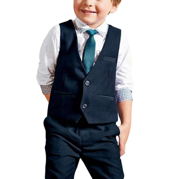4 PCS Baby Boys Dress Suit Vest + Shirt + Necktie +Pants Set Kids Clothes Outfits