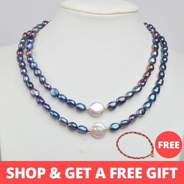 ASHIQI Natural Freshwater Baroque Pearl Necklace for Women Authentic 925 Sterling Silver Ball Jewelry