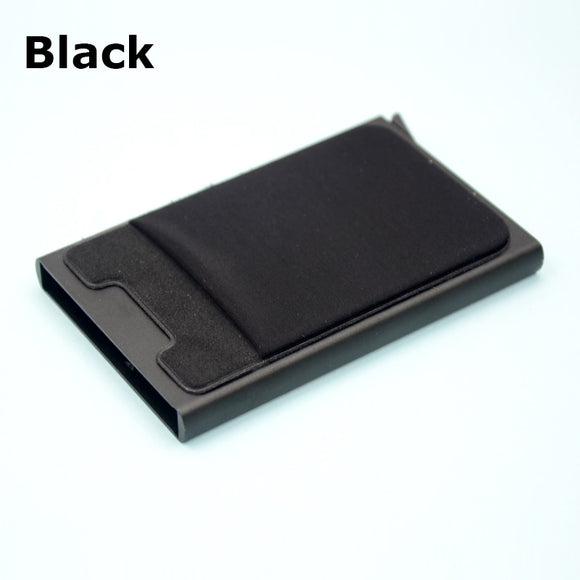 Təhlükəsiz portmanat. BONAMIE Aluminum Wallet With Elasticity Back Pouch ID Credit Card Holder RFID Mini Slim Wallet Automatic Pop up Credit Card Case