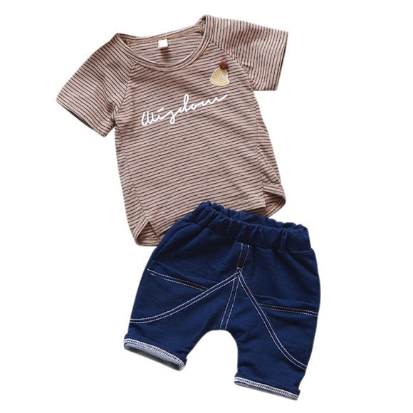 Baby Boy Clothes Stripe Fashion Baby Clothes Set 2PCS Fashion Boy T-shirt Summer Top Beach Denim Shorts T-shirt + Denim Shorts