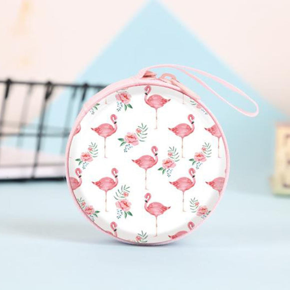 Rəngli Flamingo. SD Hold Case Storage Carrying Hard Bag Box Case for Earphone Headphone Earbuds Memory Card Storage Bag