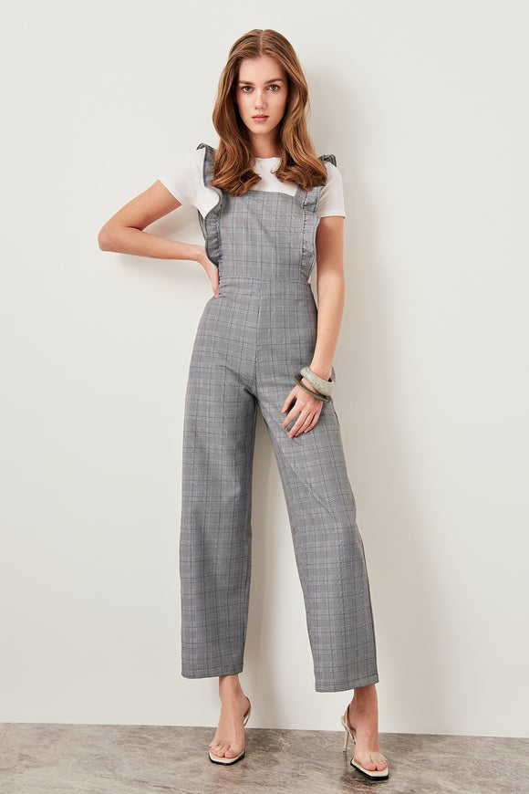 Trendyol Gray Ruffle Detailed Jumpsuits