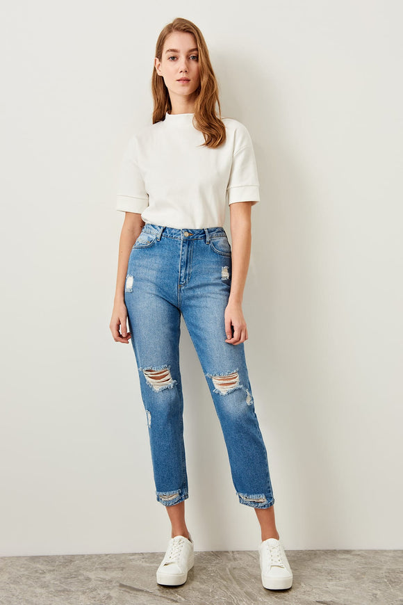 Trendyol Ripped Blue Jeans Detail High Waist Mom