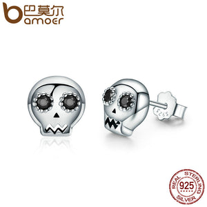 BAMOER gümüş sırğalar/ BAMOER Genuine 925 Sterling Silver Skull Skeleton Stud Earrings for Women Black Clear CZ Sterling Silver Jewelry Brincos SCE064