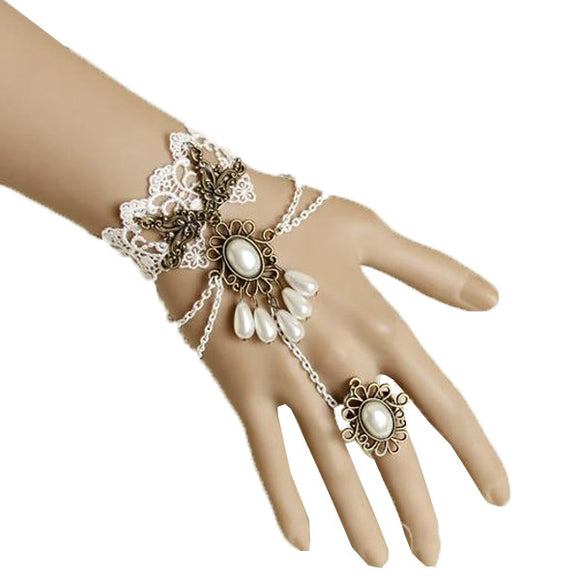 White Pearl Ring-to-Wrist Bracelet