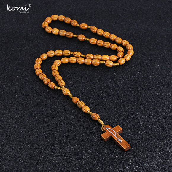 Təbii ağacdan xaç// New Wooden Beads Cross Pendant Long Necklace For Women Men Catholic Christ Religious Jesus Rosary Jewelry Gift R-002