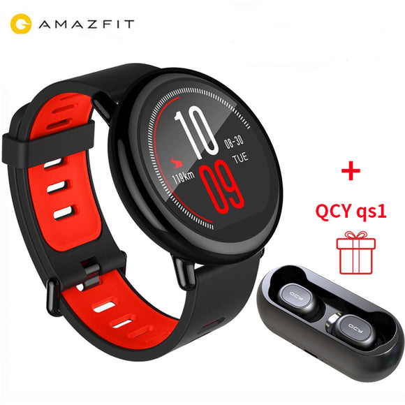 [GLOBAL VERSION]Xiaomi Huami AMAZFIT + QCY QS1 Qulaqlıq (Pace Smart Watch 4GB GPS Heart Rate Monitor BT4)