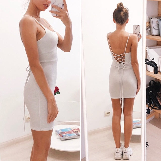 Mini Party Dress Glitter Sexy Bodycon Spaghetti Strap Backless Off Shoulder Short Sparkle Clubwear Summer Dress Women