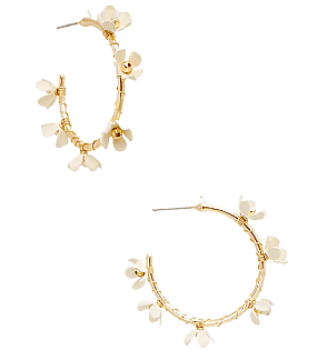 White Flower Wire Hoops