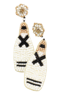 Black & White Beaded Champ Earrings
