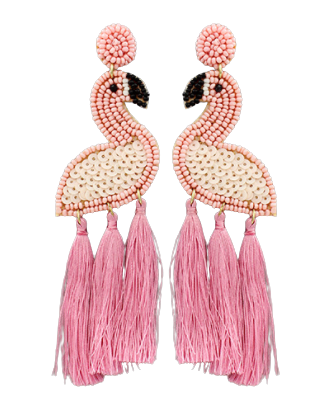Pink Flamingo Tassel Earrings