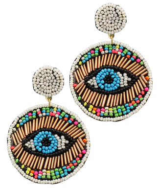 Beaded Evil Eye Earrings