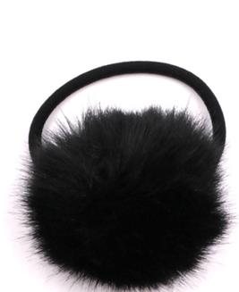 Black Fur Pom Hair Tie