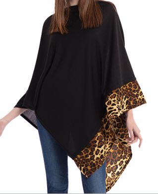 Black Leopard Trim Poncho