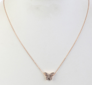 Gold Butterfly Pave' Necklace