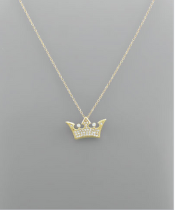 Gold CZ Crown Necklace
