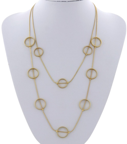 Gold Circle Layered Necklace
