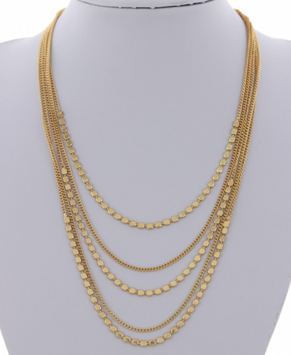 Gold Dot and Chain Layered Necklace