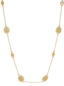 Gold Teardrop Filigree Necklace