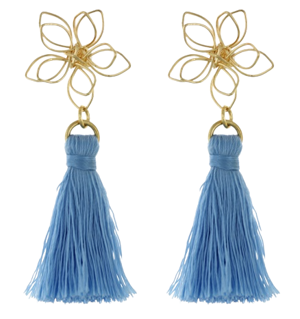 Gold Flower and Blue Tassel Earring
