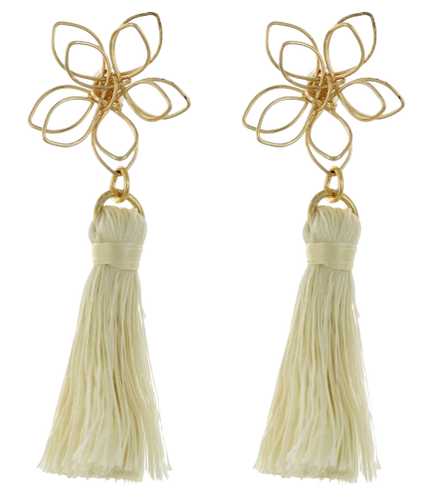 Gold Flower and Ivory Tassel Earring
